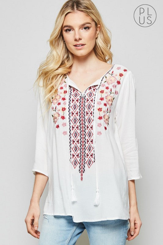 Adele Boho Top in Ivory