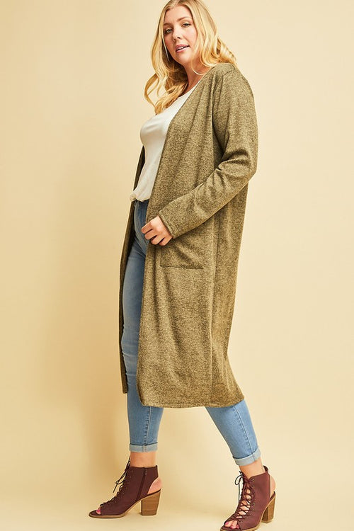 Shelby PLUS Open Front Maxi Cardigan in Heather Olive