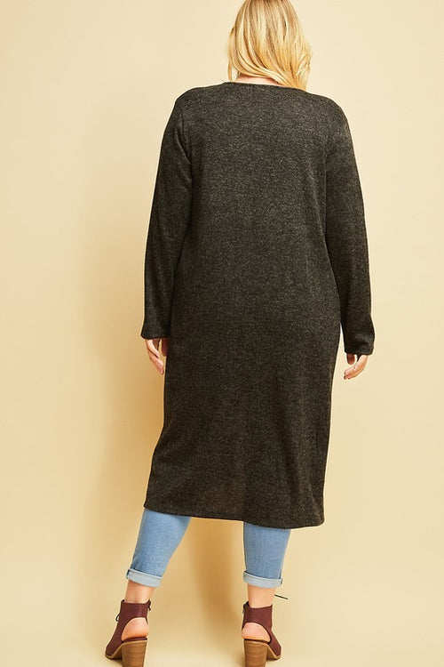 Shelby PLUS Open Front Maxi Cardigan in Heather Black