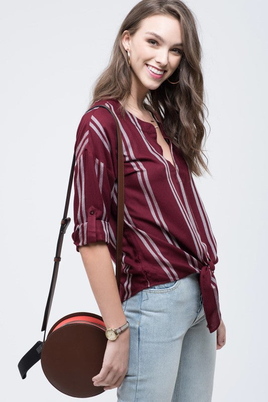 Harper Striped Tie-Front Top in Burgundy