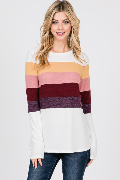 Felicity Color Block Top in White