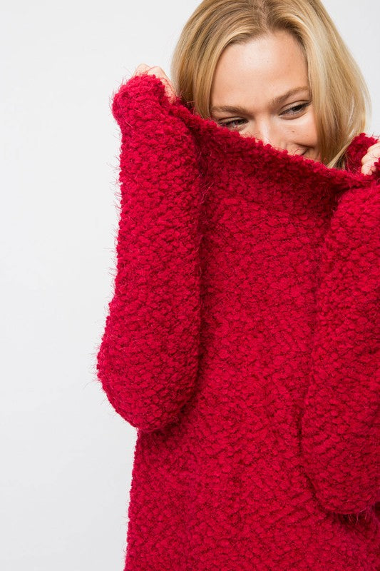 Joanna Popcorn Knit Sweater in Cranberry
