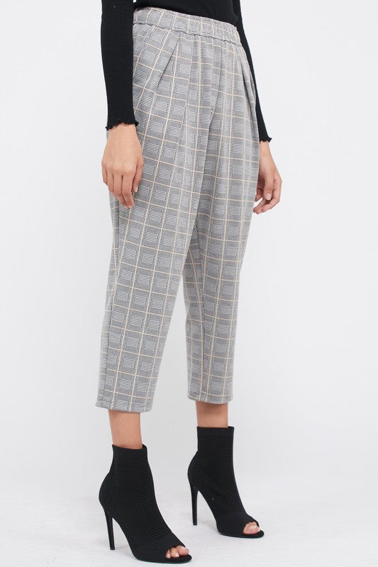 Zia Plaid Pants in Taupe