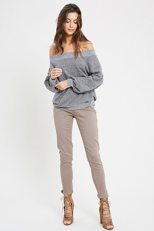 Margot Off Shoulder Sweater in Charcoal
