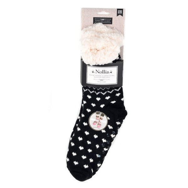 Selena Sherpa Camp Socks in Black Hearts