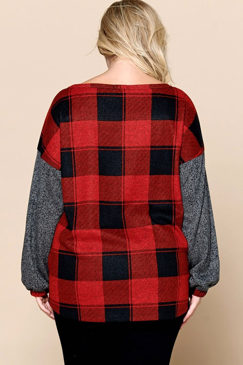 Pippa PLUS Buffalo Plaid Top in Red