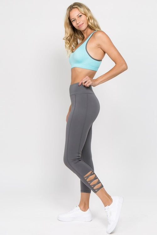 Cammie Lattice Workout Leggings in Charcoal