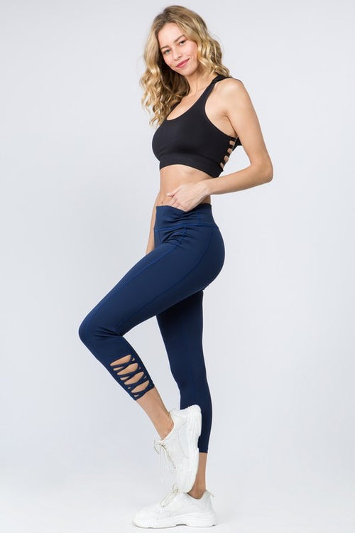 Cammie Lattice Workout Leggings in Navy