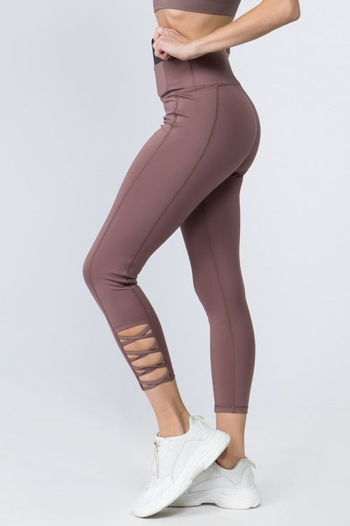 Cammie Lattice Workout Leggings in Smoky Mauve