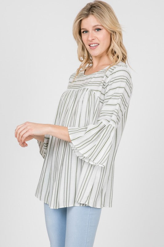 Ava Striped Top in Sage