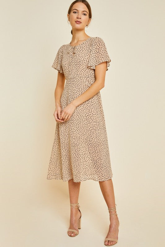 Georgia Polka Dot Swing Dress in Tan