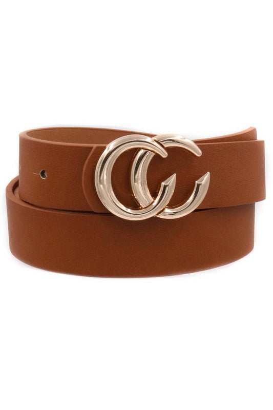 Gia Gold CC Buckle Belt in Cognac
