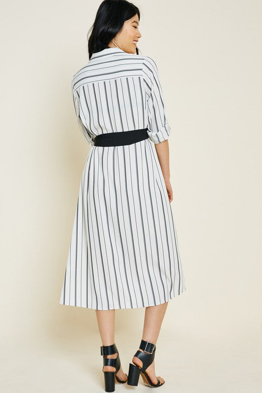 Eva Maxi Shirt Dress in Off White