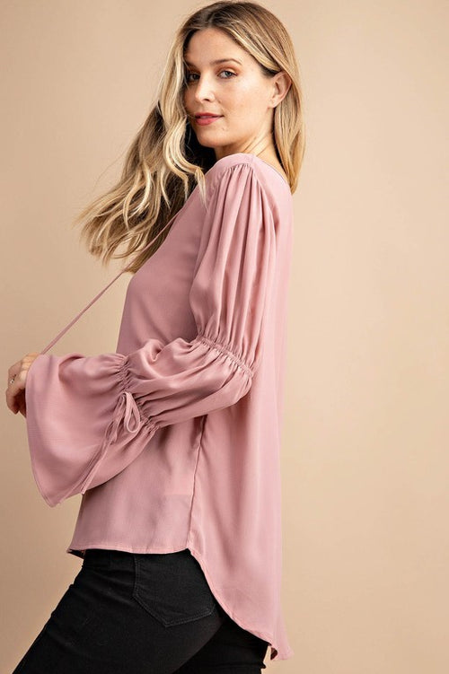 Miriam Tied Sleeve Top in Mauve