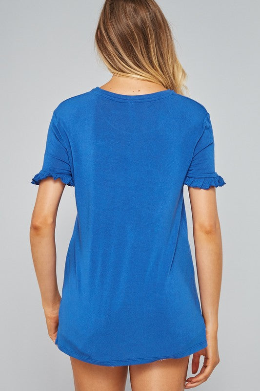 Kinsley Ruffled Sleeve Top in Blue
