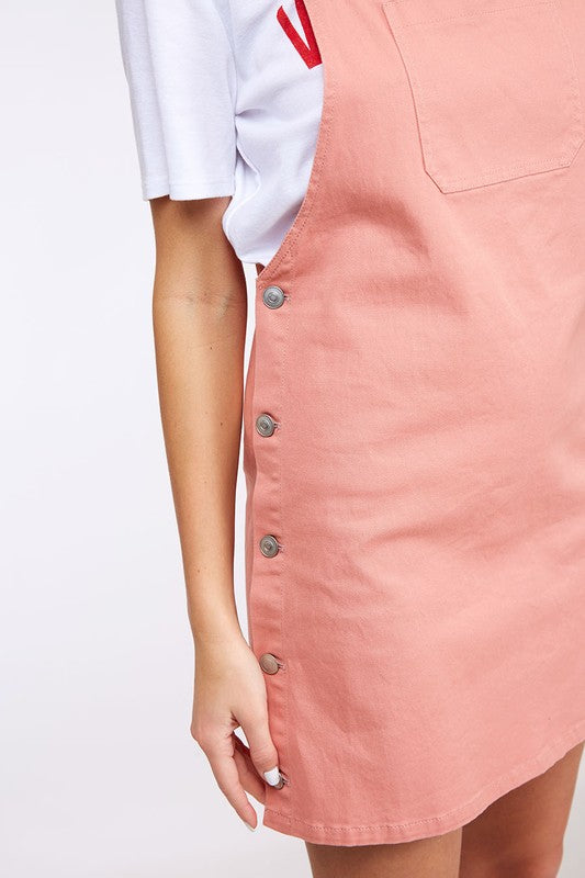 Genevieve Dress Overalls in Dusty Pink