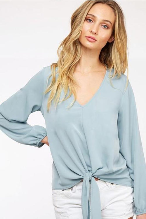 Rayne Tie Front Top in Light Blue