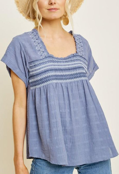 Felicity Embroidered Smocked Top in Blue