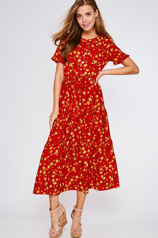 Daphne Floral Maxi in Red