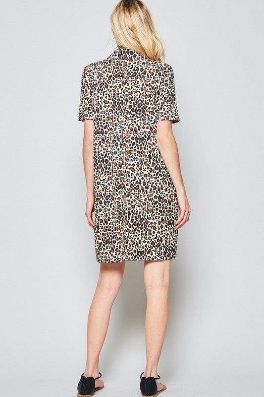 Maddie Leopard Print Shirt Dress in Black
