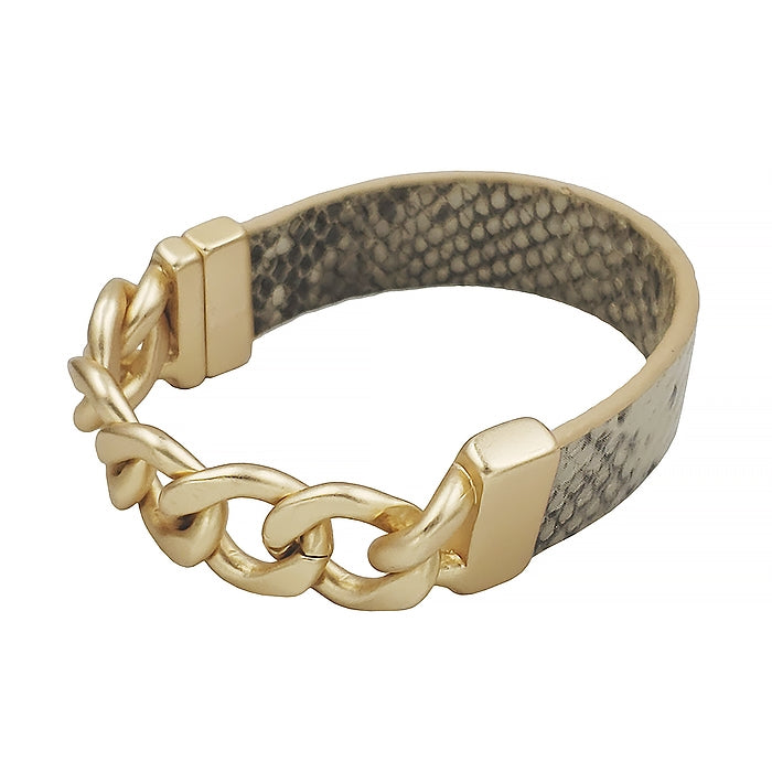 Snake Print and Gold Chain Magnetic Bracelet in Beige