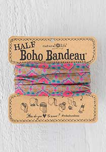 Half Boho Bandeau in Grey & Pink Stamp
