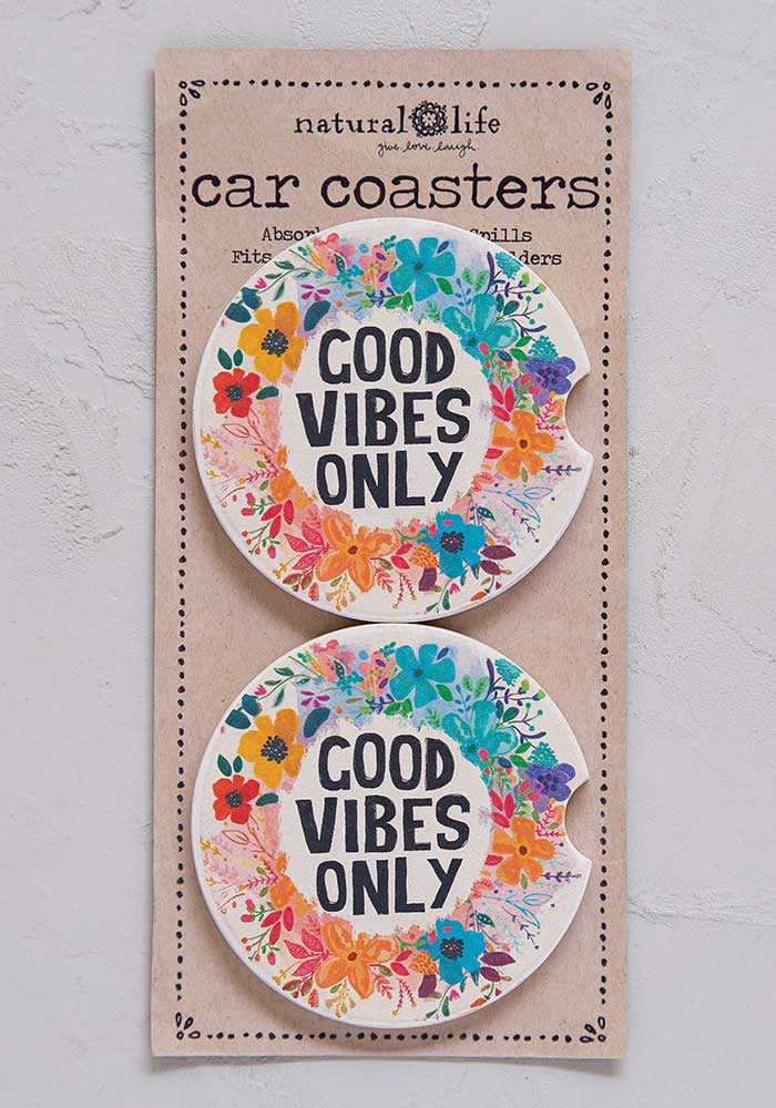 Car Coaster Set of Two - Good Vibes Only