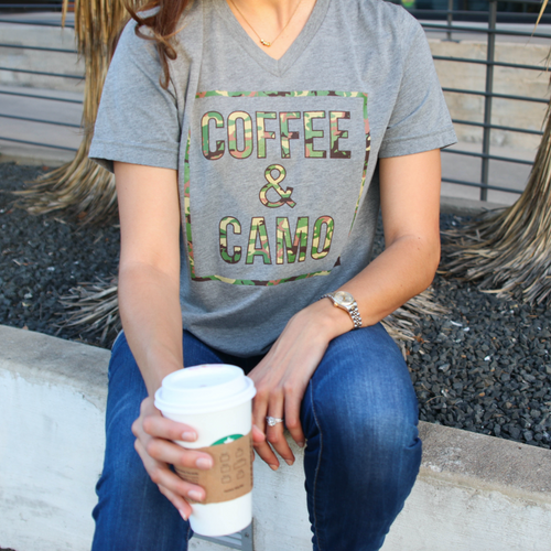 Coffee and Camo T-Shirt in Grey