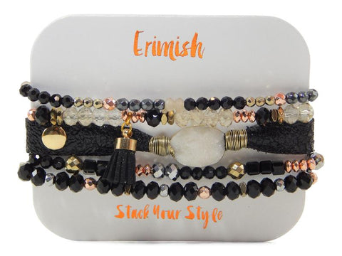 Erimish Stack of Five Stretch Bracelets in Honeysuckle