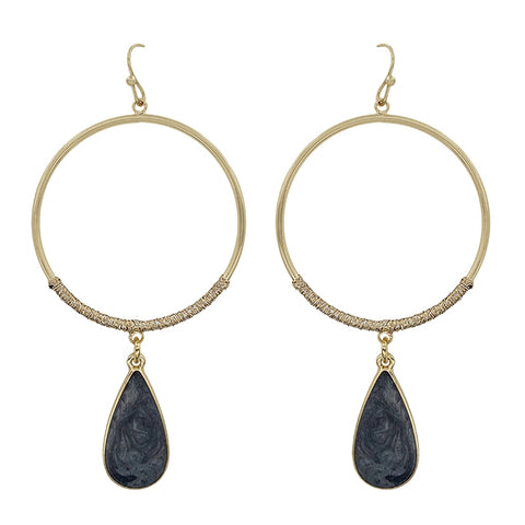 Natural Teardrop with Gold Hoop Earrings