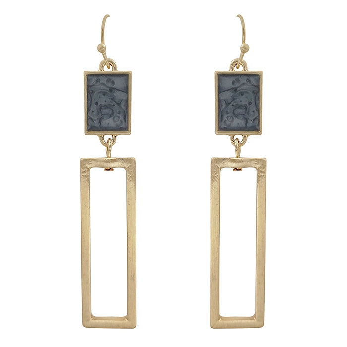Gray with Gold Rectangle Earrings