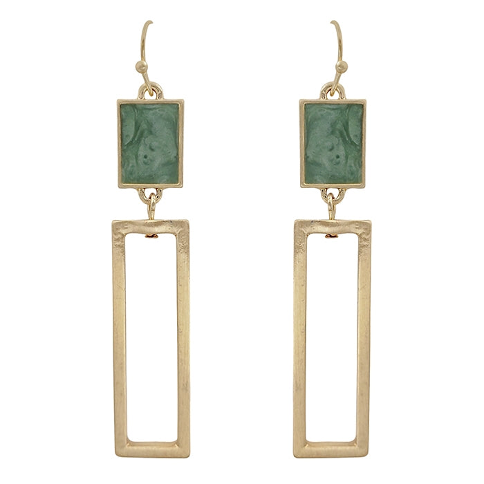 Mint with Gold Rectangle Earrings