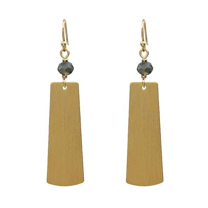 Matte Gold and Grey Crystal Earrings