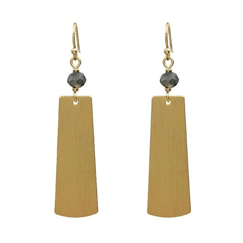 Blush with Gold Rectangle Earrings