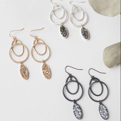 Gray Teardrop with Gold Hoop Earrings