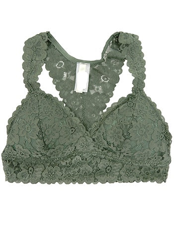 Lace Bralette with Removable Pads and Racer Back in Moss