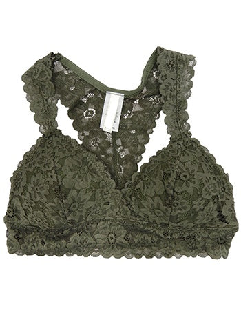 22052477411fc Lace Bralette with Removable Pads and Racer Back in Olive – Spruced ...
