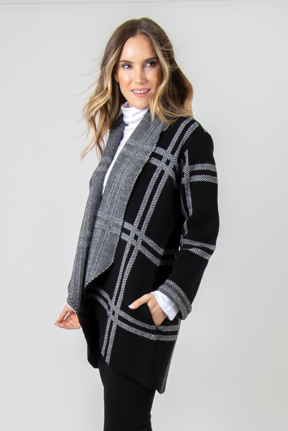 Windowpane Plaid Knit Jacket