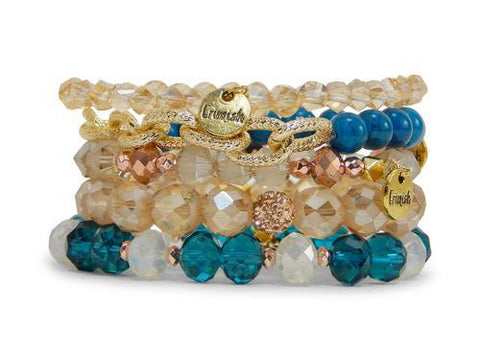 Erimish Stack of Five Stretch Bracelets in Eden East
