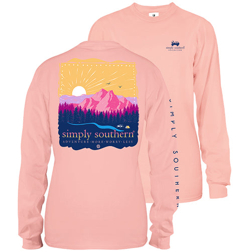"Simply Southern ""Adventure More Worry Less"" Long Sleeve T-Shirt in Rose"