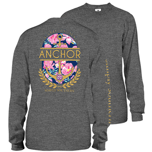 "Simply Southern ""God is My Anchor"" Long Sleeve T-Shirt in Dark Heather Gray"