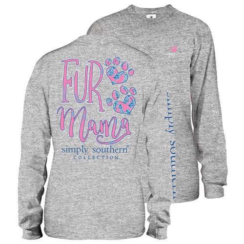 "Simply Southern ""Fur Mama"" Long Sleeve T-Shirt in Heather Gray"