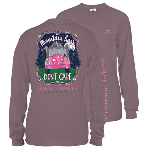 "Simply Southern ""Mountain Hair Don't Care"" Long Sleeve T-Shirt in Plum"