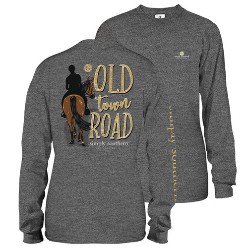 "Simply Southern ""Old Town Road"" Long Sleeve T-Shirt in Dark Heather Gray"