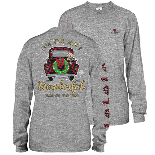 "Simply Southern ""Most Wonderful Time of the Year"" Long Sleeve T-Shirt in Gray"