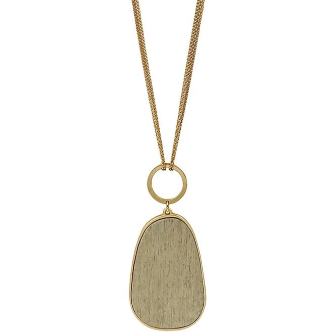 "Gray Wood Oval on 30"" Gold Necklace"