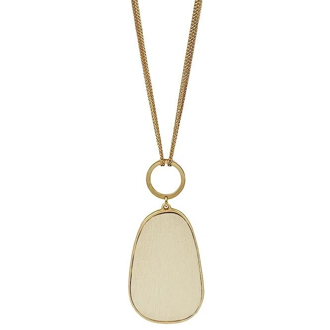"Natural Wood Oval on 30"" Gold Necklace"