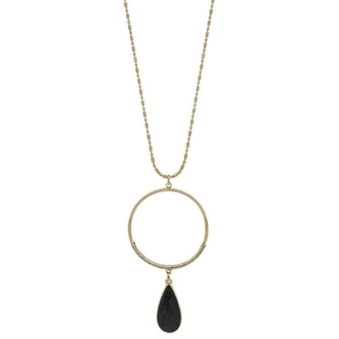 "Black Teardrop with Gold Circle 34"" Necklace"