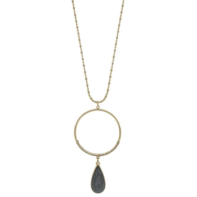"Gray Teardrop with Gold Circle 34"" Necklace"