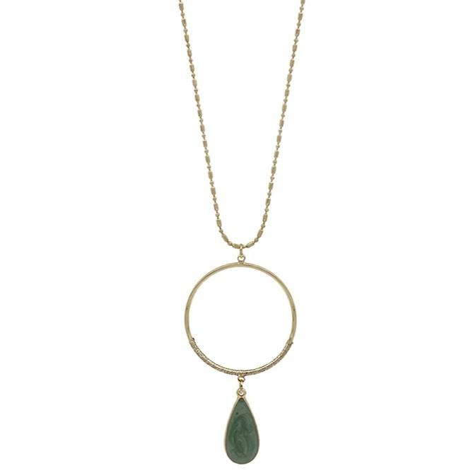 "Mint Teardrop with Gold Circle 34"" Necklace"